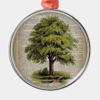 Earth Day ECO dictionary prints vintage oak tree Metal Ornament