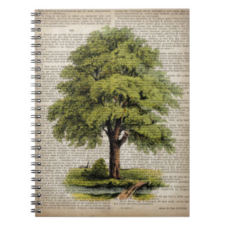 Earth Day ECO dictionary prints vintage oak tree Notebook
