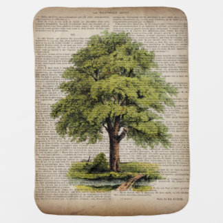Earth Day ECO dictionary prints vintage oak tree Receiving Blanket