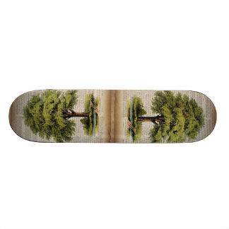 Earth Day ECO dictionary prints vintage oak tree Skateboard Deck