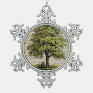 Earth Day ECO dictionary prints vintage oak tree Snowflake Pewter Christmas Ornament