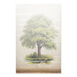 Earth Day ECO dictionary prints vintage oak tree Stationery