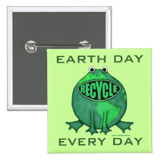 Earth Day Environmental 2 Inch Square Button