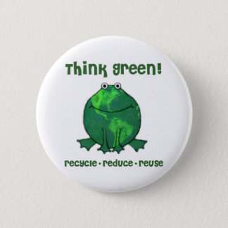 Earth Day Environmental Frog Pinback Button