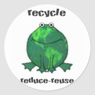 Earth Day Environmental Frog Classic Round Sticker