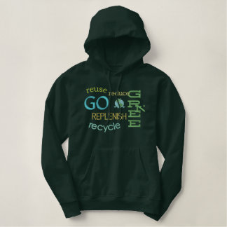 Earth Day Environmental Green Frog Recycle Embroidered Hoodie