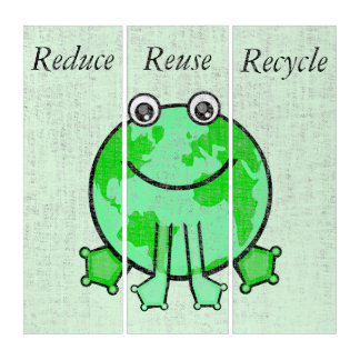Earth Day Environmental Recycle Triptych Wall Art