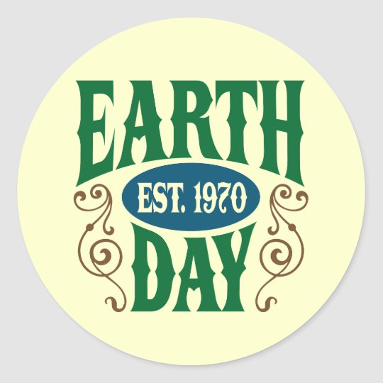 Earth Day Established 1970 Classic Round Sticker