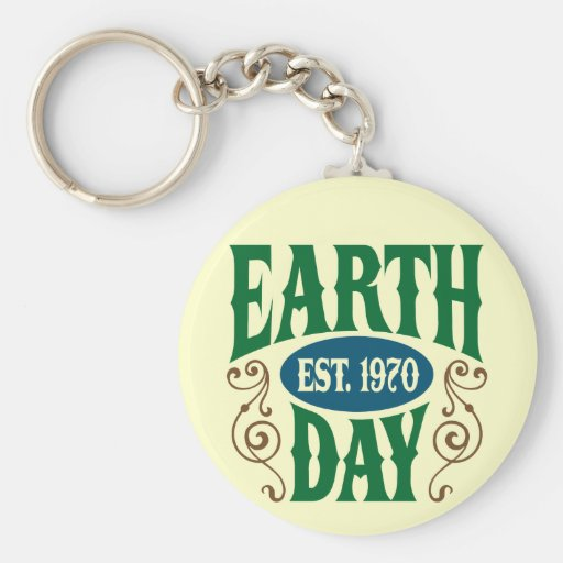 Earth Day Established 1970 Basic Round Button Keychain
