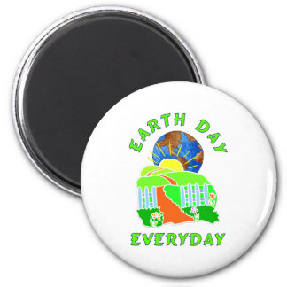 Earth Day Every Day 2 Inch Round Magnet