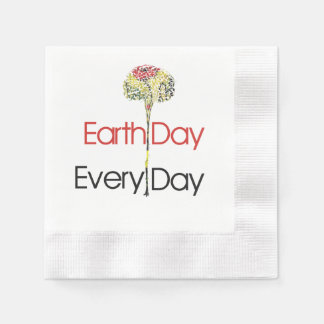 Earth Day Every Day Coined Cocktail Napkin
