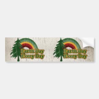 Earth Day Every Day, Retro Rainbow Bumper Sticker