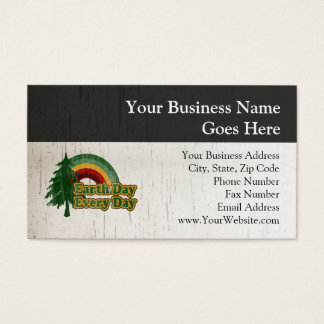 Earth Day Every Day, Retro Rainbow Business Card