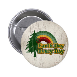 Earth Day Every Day, Retro Rainbow Button