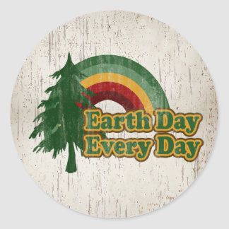 Earth Day Every Day, Retro Rainbow Classic Round Sticker