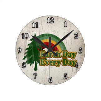 Earth Day Every Day, Retro Rainbow Round Wall Clock
