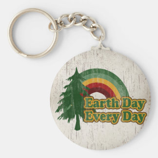Earth Day Every Day, Retro Rainbow Keychain