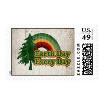 Earth Day Every Day, Retro Rainbow Postage