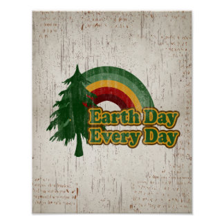 Earth Day Every Day, Retro Rainbow Poster