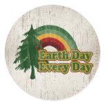 Earth Day Every Day, Retro Rainbow Classic Round Sticker