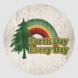 Earth Day Every Day, Retro Rainbow Stickers