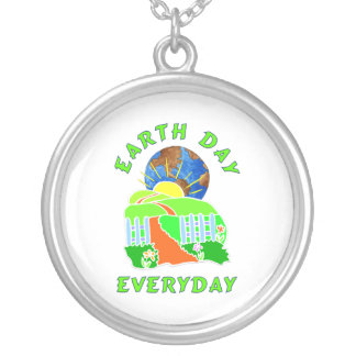 Earth Day Every Day Round Pendant Necklace