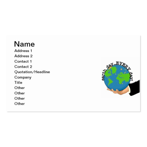 Earth Day Every Day T-shirts and Gifts Business Card Template