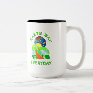 Earth Day Every Day Two-Tone Coffee Mug