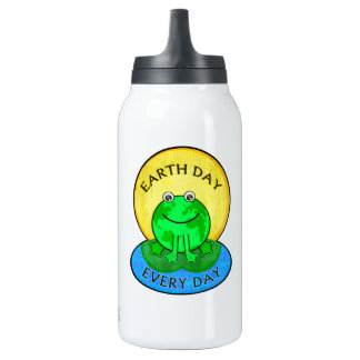 Earth Day Every Day World Frog Thermo Bottle 10 Oz Insulated SIGG Thermos Water Bottle