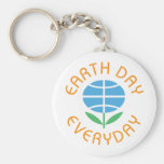 Earth Day Everyday Basic Round Button Keychain