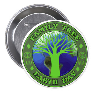 Earth Day Family Tree Pinback Button