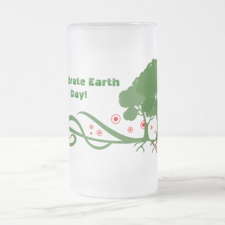 Earth day frosted glass beer mug