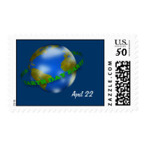 Earth Day Globe Postage Stamp