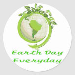 EARTH DAY GO GREEN CLASSIC ROUND STICKER