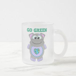 Earth Day Go Green hippo Goofkins 10 Oz Frosted Glass Coffee Mug