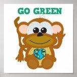 Earth Day Go Green monkey Goofkins Poster