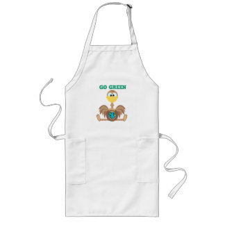 Earth Day Go Green ostrich Goofkins Long Apron
