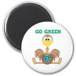 Earth Day Go Green ostrich Goofkins 2 Inch Round Magnet