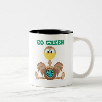 Earth Day Go Green ostrich Goofkins Two-Tone Coffee Mug