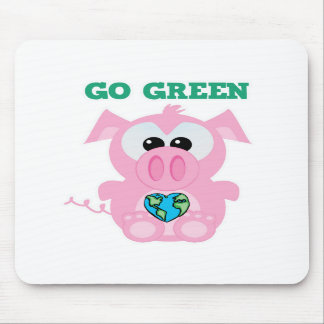 Earth Day Go Green pig Goofkins Mouse Pad