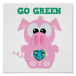 Earth Day Go Green pig Goofkins Poster