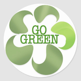EARTH DAY GO GREEN ROUND STICKERS