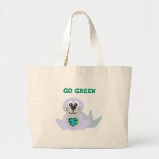 Earth Day Go Green seal Goofkins Tote Bags