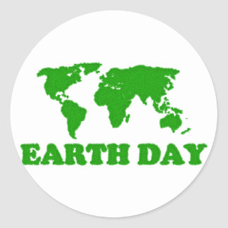 Earth Day Grass Map Classic Round Sticker