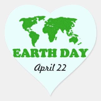 Earth Day Grass Map Heart Sticker
