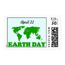 Earth Day Grass Map Postage Stamp