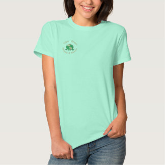 Earth Day Green Frog Recycle Environmental Embroidered Shirt