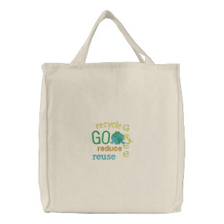 Earth Day Green Frog Recycle Environmental Embroidered Tote Bag
