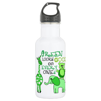 Earth Day Green Message Stainless Steel Water Bottle