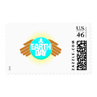 earth day hands design postage stamp